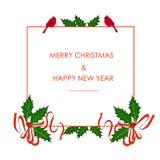 Bannière tirée par la main verte et rouge de typographie de houx, feuilles, baie, marquant avec des lettres le Joyeux Noël et la  Illustration de Vecteur