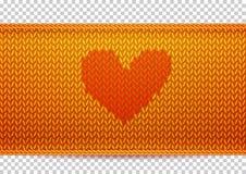 Bannière tricotée d'or avec la forme de coeur Image libre de droits