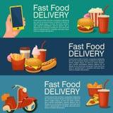 Bannière trois horizontale pour la livraison d'aliments de préparation rapide Image libre de droits