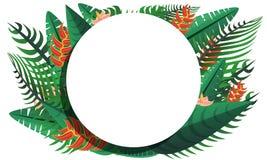 Bannière tropicale de concept de forêt tropicale de Paradise, style de bande dessinée illustration libre de droits