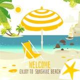 Bannière tropicale de plage avec des roches, yacht, chaise du soleil Photographie stock