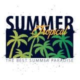 Bannière tropicale de vente d'été avec des paumes et le coucher du soleil Carte d'invitation d'insecte d'affiche de plaquette d'é illustration libre de droits
