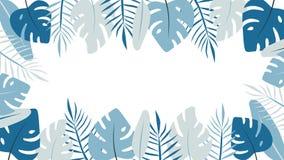 Bannière tropicale légère de feuilles Illustration plate de Monstera illustration de vecteur