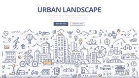 Bannière urbaine de griffonnage de paysage Image stock