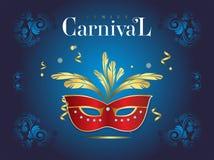 Bannière vénitienne de carnaval avec un masque luxueux et flammes dans l'illustration de vecteur illustration stock