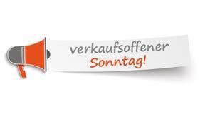Bannière Verkaufsoffener Sonntag de mégaphone Image libre de droits