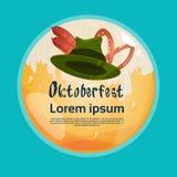 Bannière verte de festival de Patric Hat With Sausage Pretzel Oktoberfest Image libre de droits