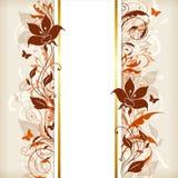 Bannière verticale avec les fleurs oranges et brunes Photo libre de droits