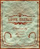 Bannière verticale de vintage avec l'elixirlabel d'amour Images stock
