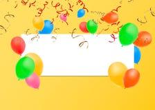 Bannière vide avec des ballons et des confettis de couleur Fond de fête de vecteur Concept de joyeux anniversaire illustration de vecteur
