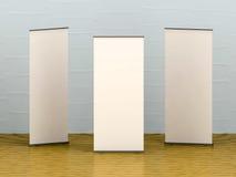Bannière vide blanche sur le plancher en bois illustration stock