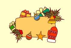 Bannière vide pour la décoration de vacances d'hiver de concept de Joyeux Noël et de bonne année des textes Image stock
