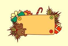 Bannière vide pour la décoration de vacances d'hiver de concept de Joyeux Noël et de bonne année des textes Image libre de droits