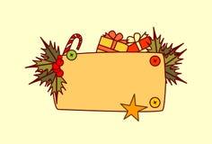 Bannière vide pour la décoration de vacances d'hiver de concept de Joyeux Noël et de bonne année des textes Images stock