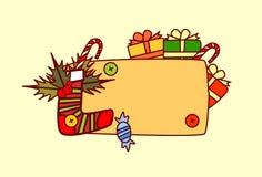 Bannière vide pour la décoration de vacances d'hiver de concept de Joyeux Noël et de bonne année des textes Photos stock