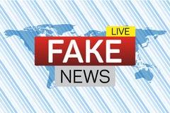 Bannière vivante de fausses actualités sur le worldmap Images libres de droits