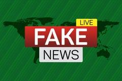 Bannière vivante de fausses actualités sur le worldmap Photo stock