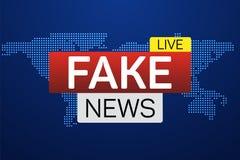 Bannière vivante de fausses actualités sur le worldmap Image stock