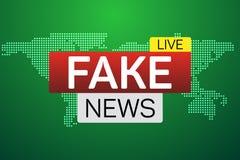 Bannière vivante de fausses actualités sur le worldmap Photos libres de droits
