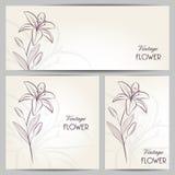 Bannières abstraites avec le lis de fleur de main-dessin Image stock