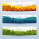 Bannières abstraites horizontales des collines du bois conifére avec des chèvres de montagne dans le ton différent Image libre de droits