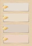 Bannières avec des agrafes d'or Image stock