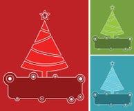 Bannières avec des arbres de Noël dans trois couleurs. Images libres de droits