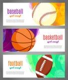 Bannières avec des boules de sports - basket-ball, base-ball, le football Folâtre des tournois dans le basket-ball, le volleyball Illustration Stock