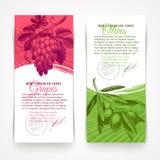 Bannières avec des nourritures - raisins et olives Photos libres de droits