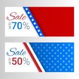Bannières avec des rayures et étoiles en couleurs du drapeau américain Ensemble de bannières horizontales modernes Vente, thème d Photographie stock libre de droits
