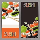 Bannières avec des sushi Photos stock