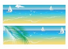 Bannières avec la mer et les palmiers Photographie stock