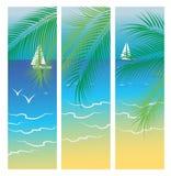 Bannières avec la mer et les palmiers Photos libres de droits
