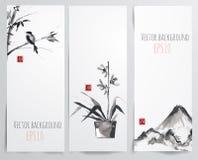 Bannières avec le bambou, l'orchidée et l'oiseau Photographie stock libre de droits