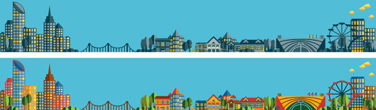 Bannières avec le panorama de la ville Image libre de droits