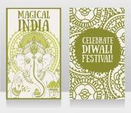 Bannières avec Lord Ganesha et l'ornement ethnique Photos stock