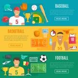 Bannières base-ball, sport de vecteur de basket-ball du football Image stock