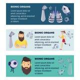 Bannières bioniques futuristes d'organes de prothèse de vecteur illustration stock