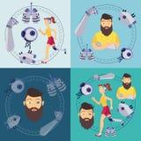 Bannières bioniques futuristes d'organes de prothèse de vecteur illustration de vecteur
