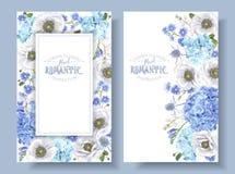 Bannières bleues d'anémone illustration stock