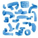 Bannières bleues d'aquarelle de vecteur réglées Photos libres de droits