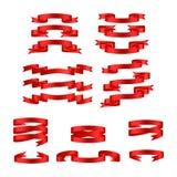 Bannières brillantes rouges de ruban Images libres de droits