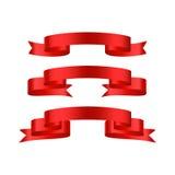 Bannières brillantes rouges de ruban Photos libres de droits