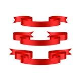 Bannières brillantes rouges de ruban Photo stock