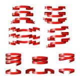 Bannières brillantes rouges de vecteur de ruban photos stock