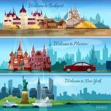 Bannières célèbres de villes illustration de vecteur