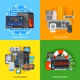 Bannières carrées de vecteur Composants de l'ordinateur illustration libre de droits