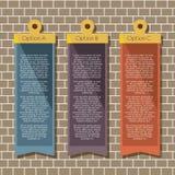 Bannières carrées Hang On Brick Wall Photo stock