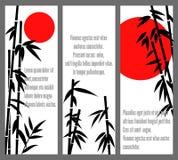 Bannières chinoises en bambou japonaises de bambu de conception ou de vecteur de cartes d'arbre Photos libres de droits