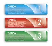 Bannières colorées d'options Photos libres de droits